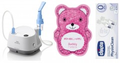 Zestaw: Inhalator Philips Respironics InnoSpire Elegance + Sól fizjologiczna Chicco PHYSIOCLEAN 10x 2ml + Kompres żelowy do termoterapii Visiomed Kinecare Buddy dark pink